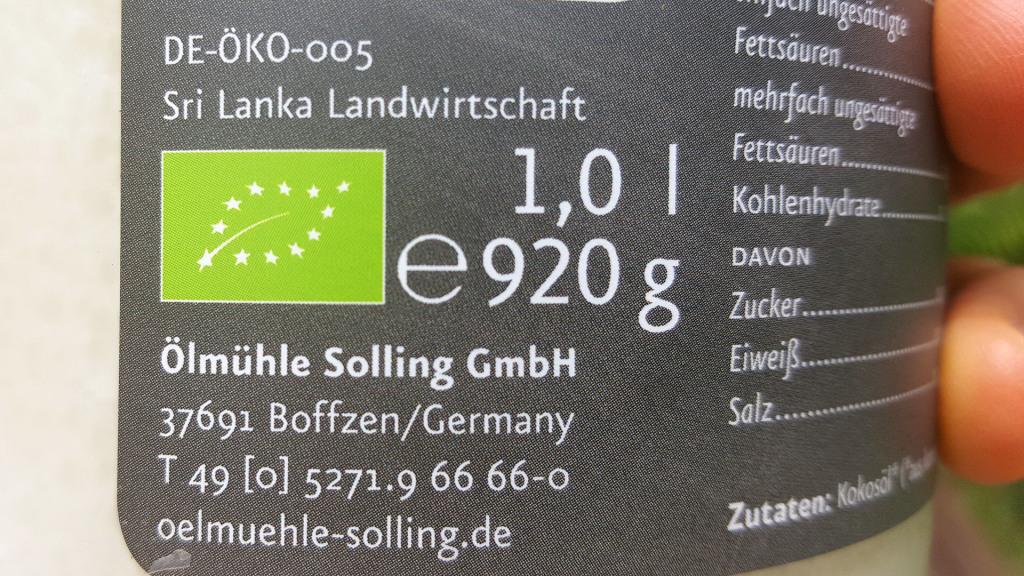 Ölmühle Solling Kokosöl - Testbericht - Biosiegel