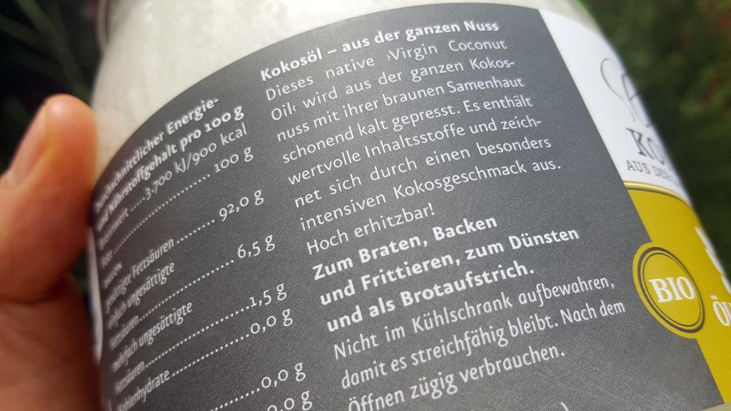 Ölmühle Solling Kokosöl - Testbericht - Etikett