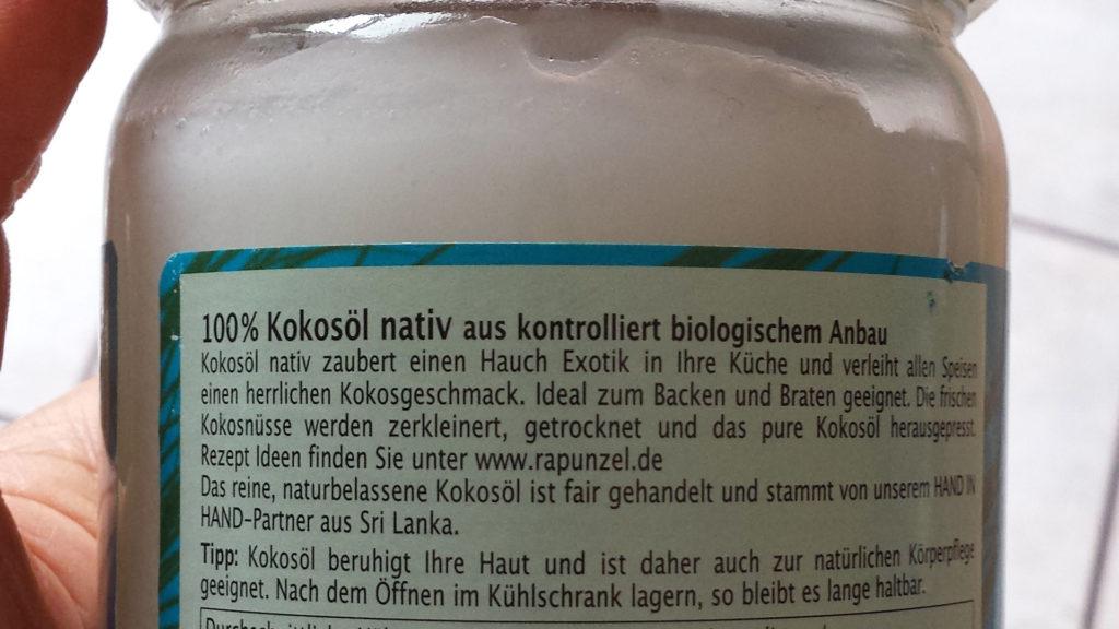 Kokosöl Rapunzel - Testbericht - Etikett